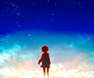 anime, sky, and anime girl image