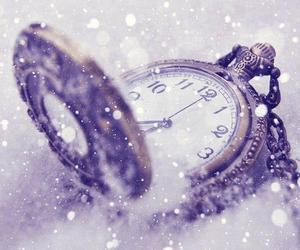 snow, clock, and winter image