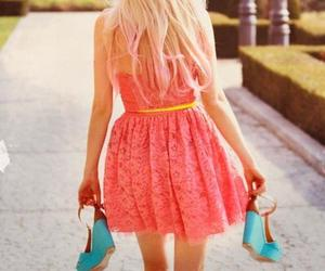 blonde, heels, and pink image