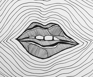 lips, art, and black and white image