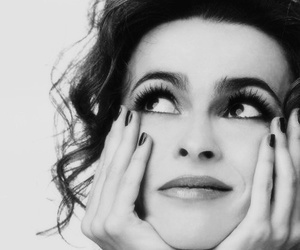 helena bonham carter and black and white image
