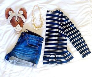 outfit, preppy, and shorts image
