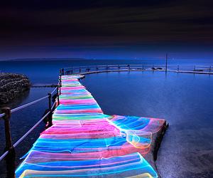 light, sea, and neon image