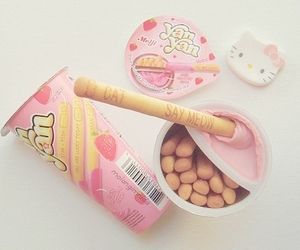 food, pink, and hello kitty image