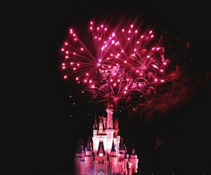 disney, pink, and fireworks image