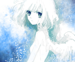 angel, blue, and girl image