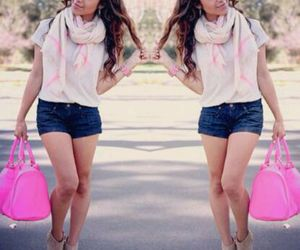 jean shorts, pink bags, and white & pink scarf image