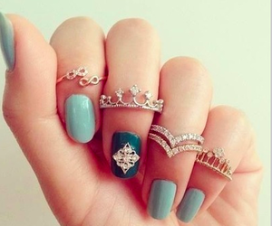 blue, rings, and nails image