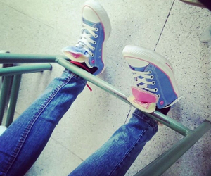 converse, jeans, and pink image