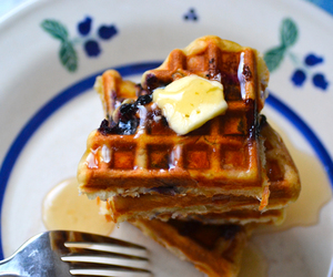 blueberry, breakfast, and waffles image
