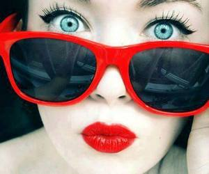 blue eyes, cute girl, and red lips image