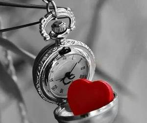 heart, clock, and red image