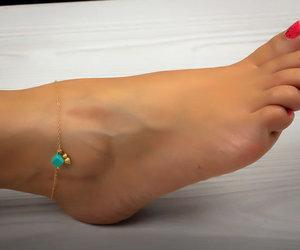 gold ankle bracelet, bridesmaid gift, and ankle bracelet image