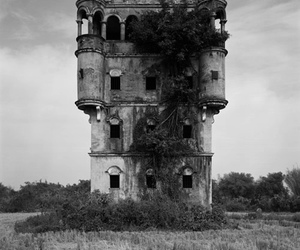 castle, black and white, and ruin image