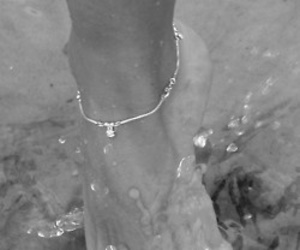feet, black and white, and water image