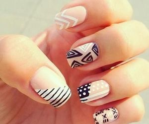 black and white, nails, and design image