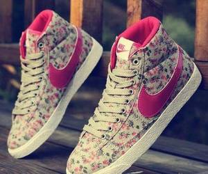 nike, flowers, and girl image