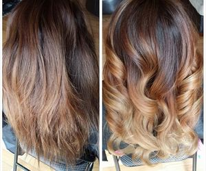 before and after, blonde, and brown image