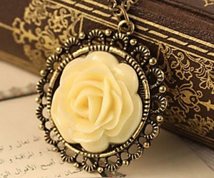 beautiful, flower, and necklace image