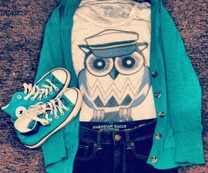 cardigan, owl, and converse image