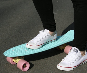 converse, skateboard, and pennyboard image