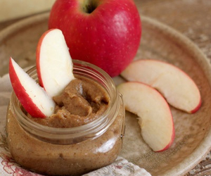 apple, peanut butter, and healthy image