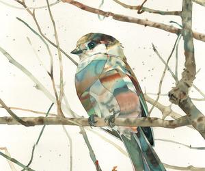 art, bird, and watercolor image