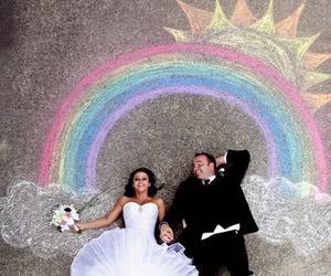 couple, rainbow, and cute image