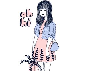 girl, hi, and illustration image