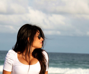 beach, brunette, and hair image