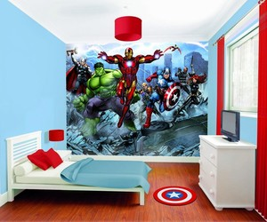 bedroom, blue, and Marvel image