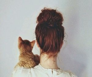 cat, friend, and girl image