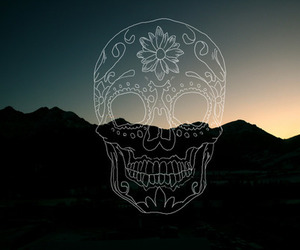 skull, art, and mountains image
