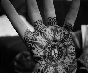 tattoo, hand, and peace image