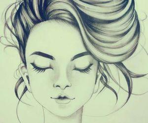 drawing, girl, and hair image