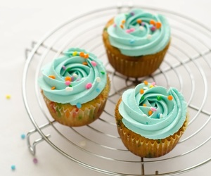 cupcakes, whipped cream, and funfetti image