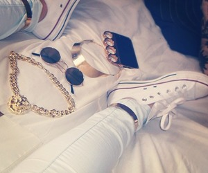fashion, converse, and gold image