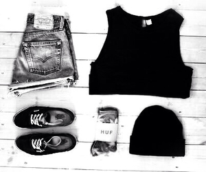 fashion, black, and vans image