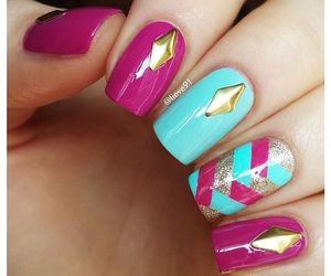 nail art, pink, and manicure image