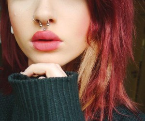 piercing, hair, and lips image