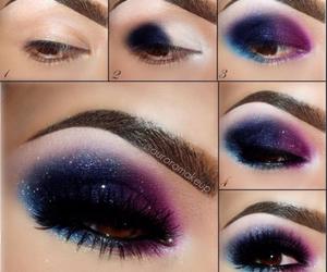 makeup, eyes, and galaxy image