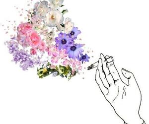 flowers, smoke, and cigarette image
