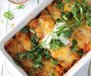 cheesy, enchiladas, and food image