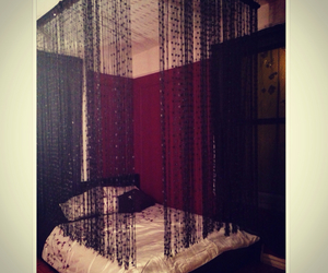 bedroom, black, and canopy image
