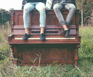 piano, boy, and music image