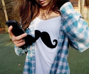 checked shirt, fashion, and mustache image
