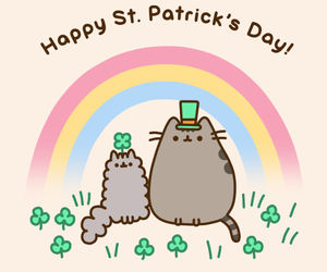 pusheen, cat, and st. patrick's day image
