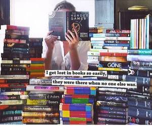 reading and lost in books image