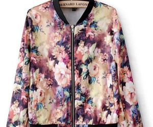 fashion, floral print, and bomber jacket image