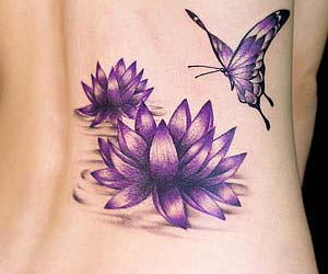tattoo, flowers, and butterfly image